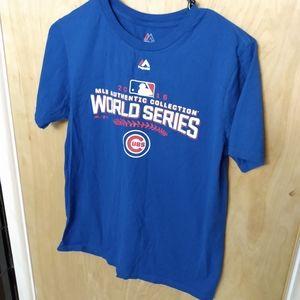 EUC Majestic Chicago Cubs 2016 world series shirt